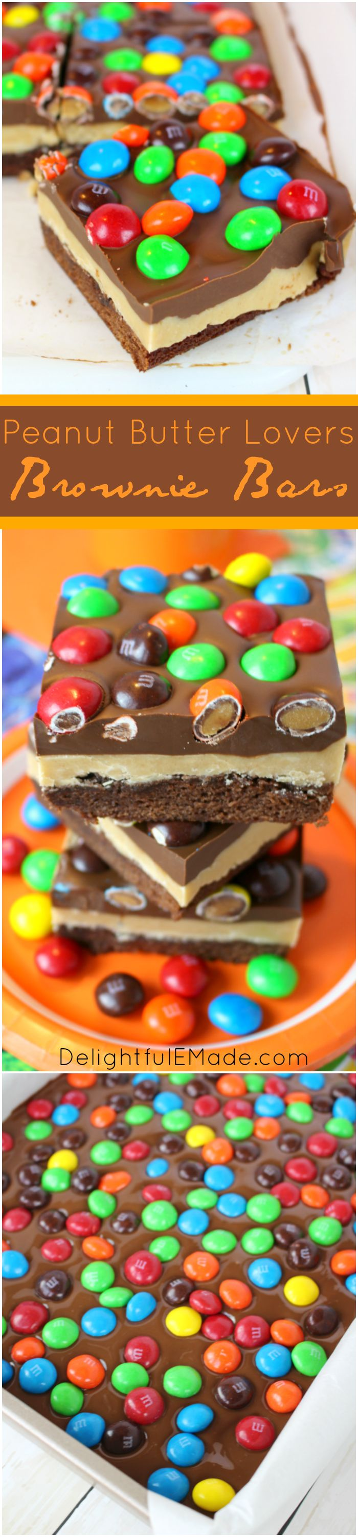 Peanut Butter Lovers Brownie Bars with M&M'S are a delicious treat for the peanut butter fan in your life!