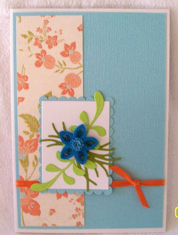 Quilled Flower Card in Blue. by KayaDoll on Etsy