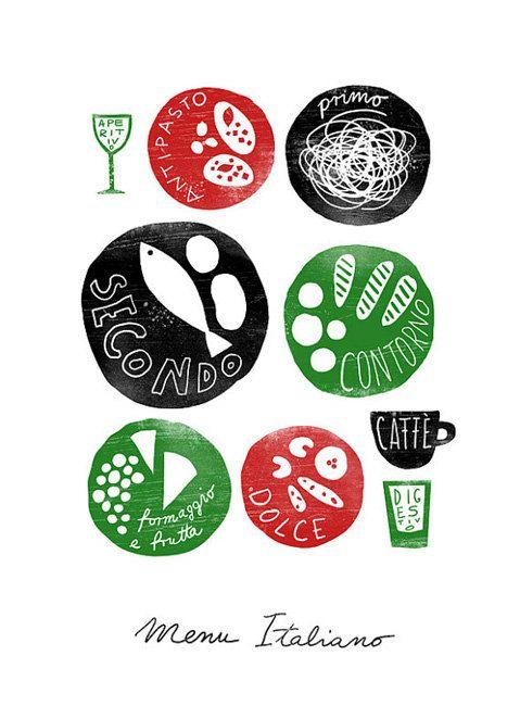 "MENU ITALIANO 11""x15"" Italian food, Kitchen Art Print - archival fine art giclée print. $45.00, via Etsy."