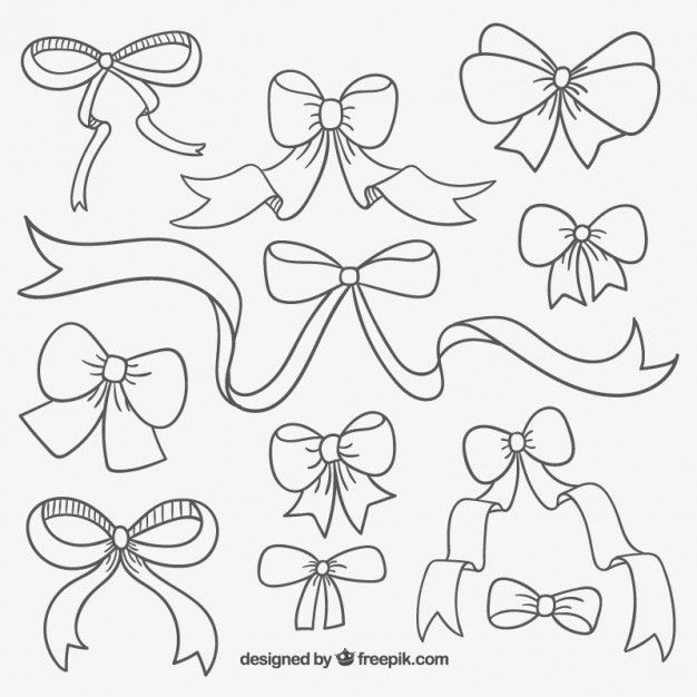 Cute hand drawn ribbons  Free Vector