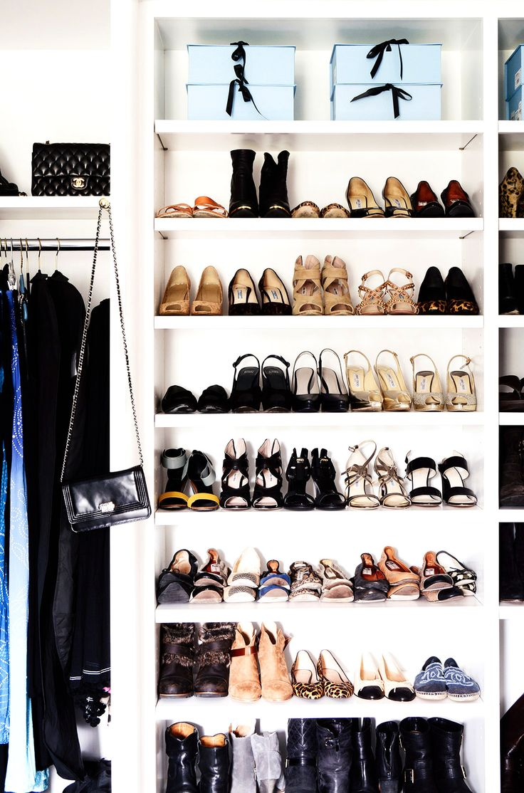 Organized shelves in dreamy closet for shoes