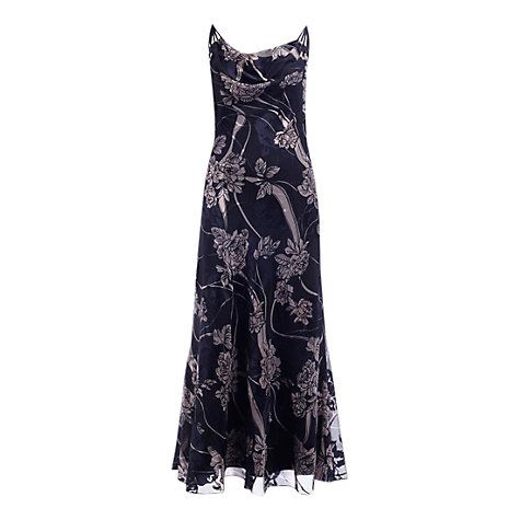 Buy Jacques Vert Oriental Rose Devore Dress, Navy Online at johnlewis.com
