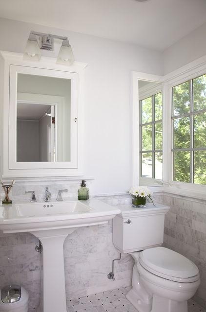 Renovated tudor bath spaces baths guest half for Tudor bathroom ideas