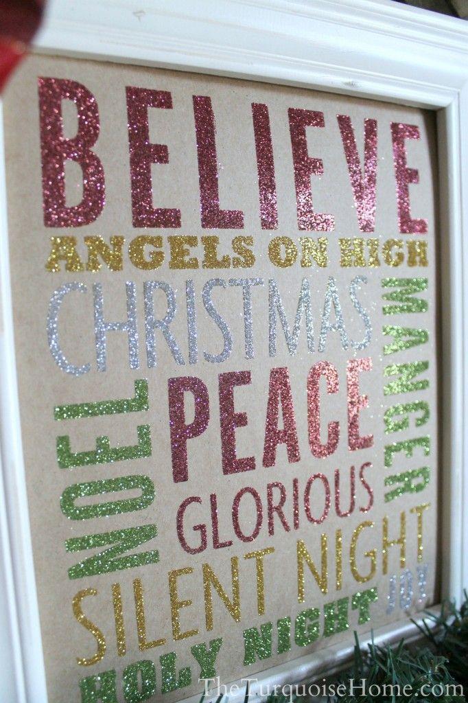 Glittery Christmas Subway Art - using double sided adhesive sheets