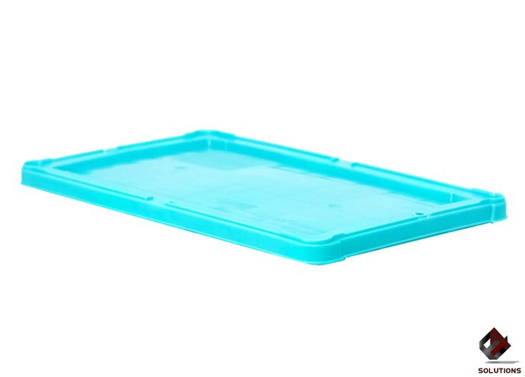 E4-1085 TAPA PARA CAJA CANADA  Fabricada en polietileno de Alta Densidad, no toxico y con grado alimenticio. Aprobado para productos que estén en contactos con alimentos, solo en material virgen. Dimensiones: 50.5 cm. x 29.5 cm. Colores: Azul y Gris.