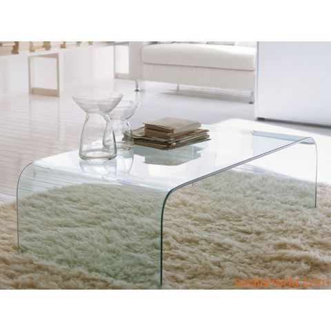 Anemone 6850 - Table basse rectangulaire en verre transparent extra clair