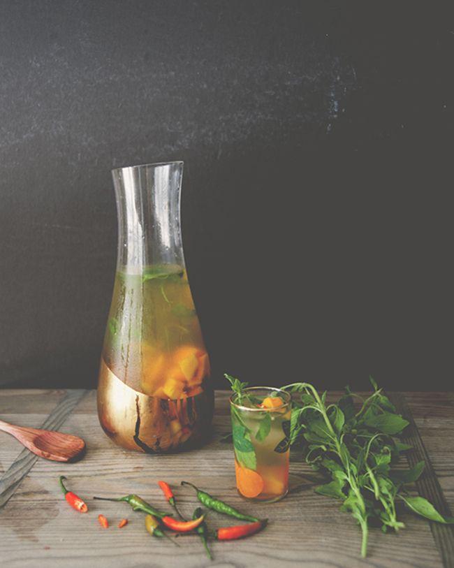 SPICY MANGO BASIL SANGRIA ~ The Kitchy Kitchen