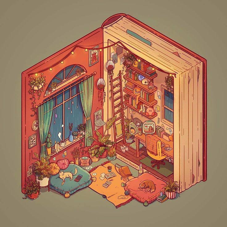 - 2a4f222ab2441c8280202b7dea5fd0a6 - Book Nook illustration by evergreenqveen . . . #booknook #book #nook #cat #cats #animals #illustration #cartoon #art #ar…