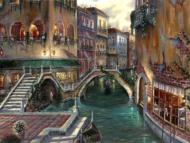 Robert Finale - Venetian Romance - oil on canvas