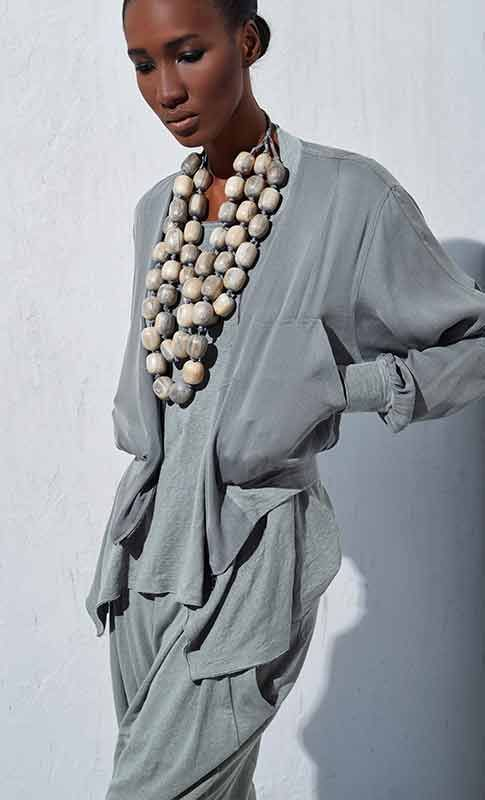 So much to love about this outfit! Soft, silky, drapey, elegant, and the beads!