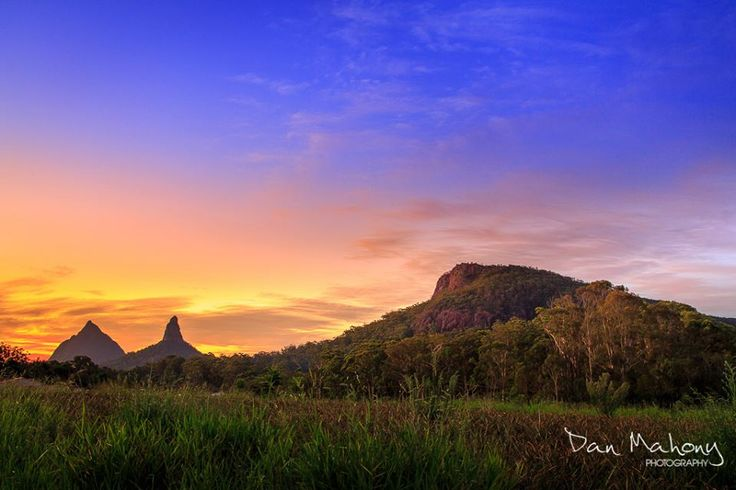 The Glasshouse Mountains, Beerwah Coonawrin and Ngungun, in South East Queensland...