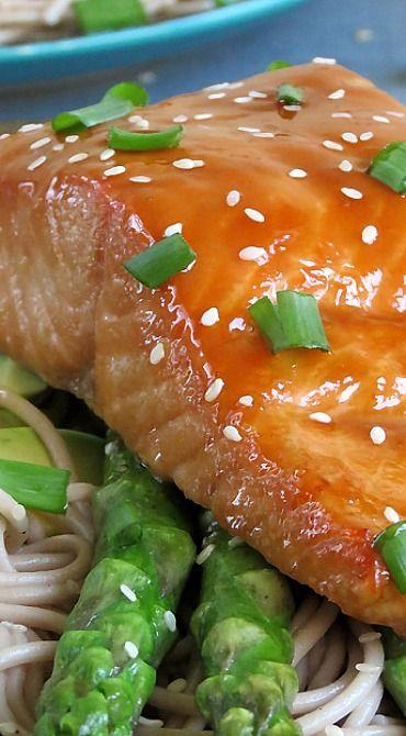 Baked Teriyaki Salmon with Soba Noodles