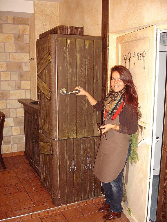 Купить роспись холодильника - коричневый, холодильник, роспись холодильника, брутальный, декор холодильника, ручная роспись