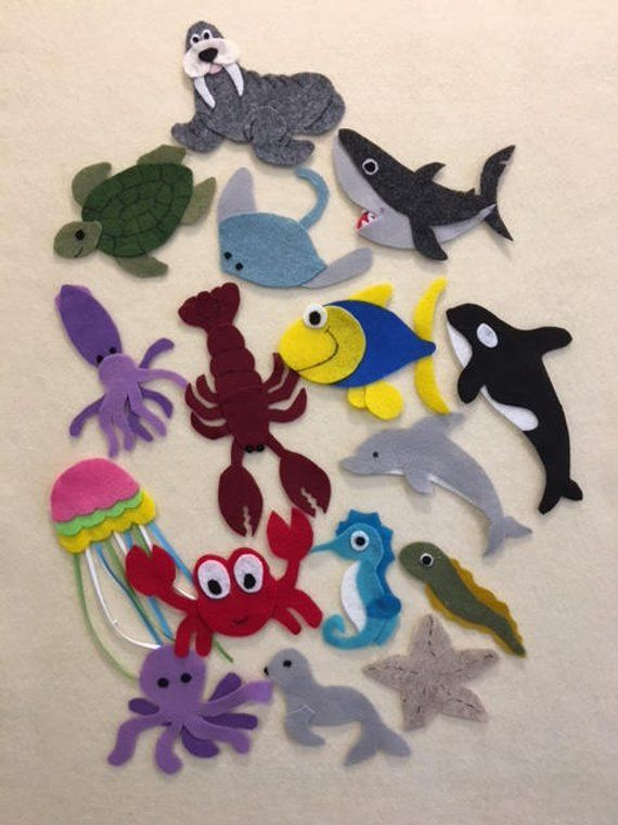 Under The Sea Felt Patterns To Make 16 Different Marine Animal To Use On A Felt Board Pdf Patterns Only Felt Patterns Felt Board Stuffed Animal Patterns
