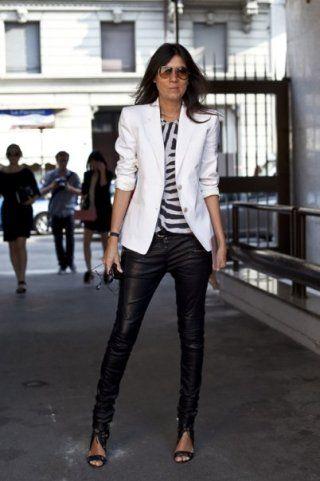 possible choiceLight Pink Blazers, Emmanuellealt, White Blazers, Black And White, Emmanuel Alt, Style Icons, Black White, Leather Pants, Emmanuelle Alt
