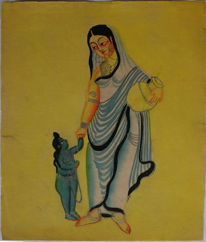 Kalighat collection: Sita with Lava. Watercolour on paper. Circa 3rd quarter 19th century. 25.5 x 21.6cm