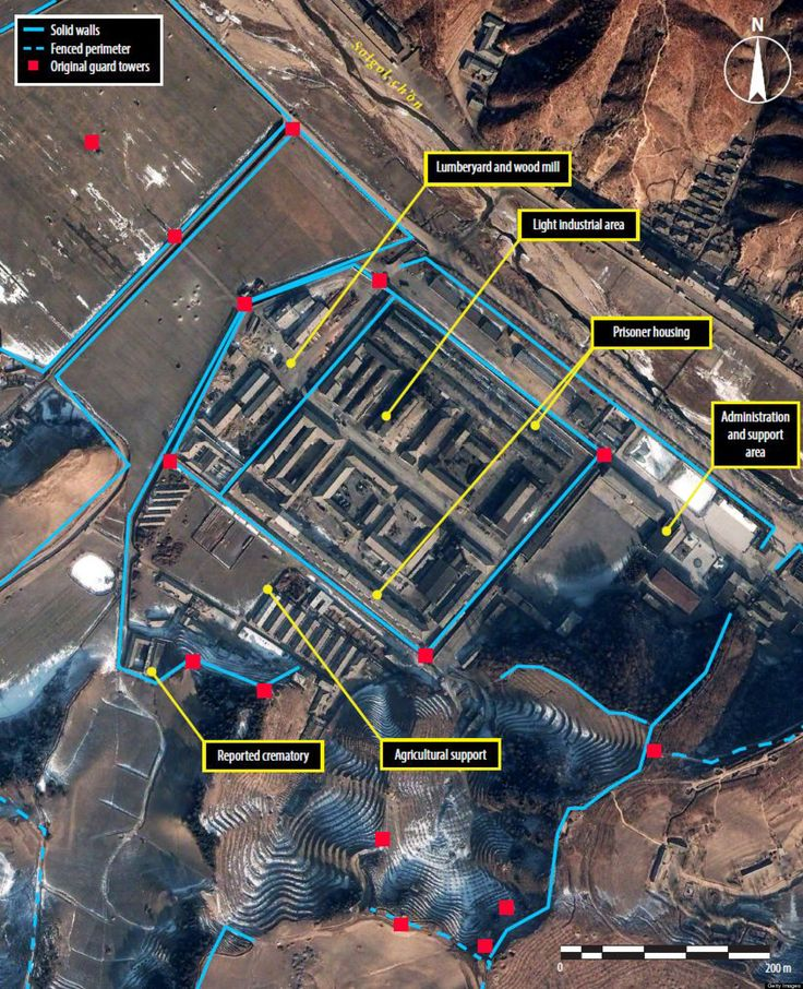 "North Korean Labor Camp, one of many unrecognized officially by the regime. It's well known throughout North Korea and the world that the regime remains sensitive to any dissonance within its walls and acts swiftly make examples of those who oppose. Political prisoners as well as their friends and three generations of their family are made to ""disappear"" which either means they were sent to labor camps or executed, or both. This extreme form of punishment is an exercise in absolute power."