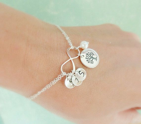 Holiday gifts for Mom! The Family Tree bracelet in sterling silver with initials and cultured pearl accent
