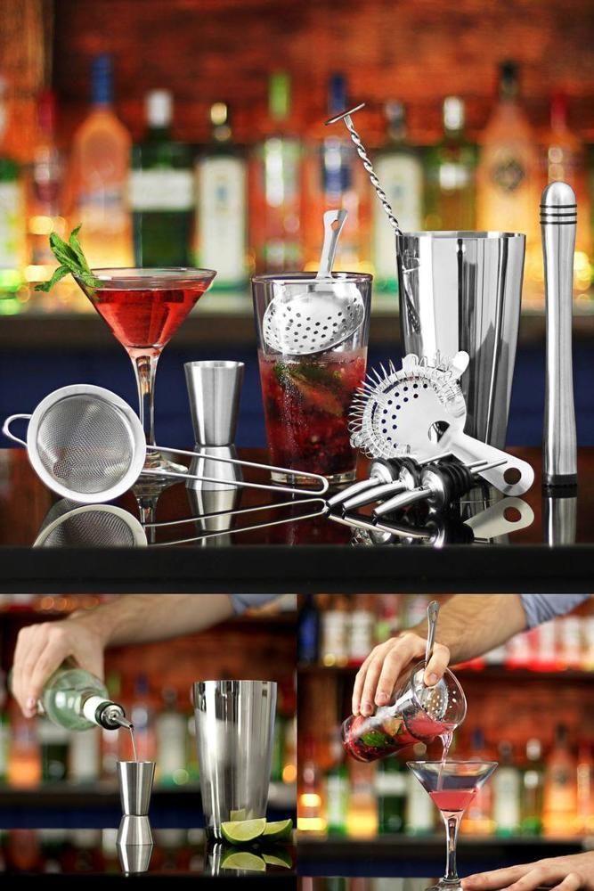 Cocktail Gift Set Cocktail Shaker Tin Glass Jigger Measure Muddler Strainer