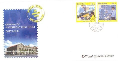 2006 Mauritius Stamps First Day Covers - Waterfront Post Office