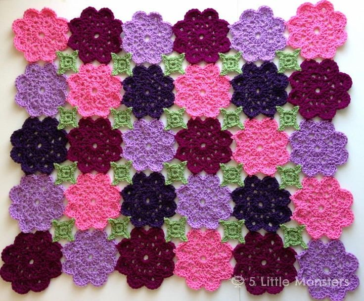 Flower Garden Crochet Blanket - What little girl wouldn't love this?  You can make it as big or as small as you like.