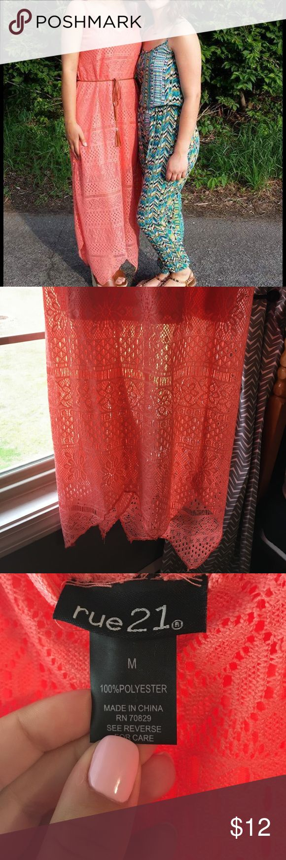 Summer Coral Maxi Dress Lace Maxi dress. Nice detailing. Will come with belt as seen in picture. Worn once. Rue21 Dresses Maxi