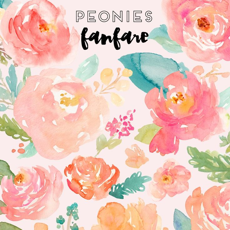 You'll Love This Watercolor Peonies Clip Art. These Watercolor Peonies Were Hand Painted and Are Ready for Your Next Project. Over 100 Images Included