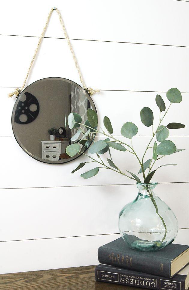 AMAZING! Turn a Dollar Tree burner cover into a stylish Captain's mirror! Littlehouseoffour.com