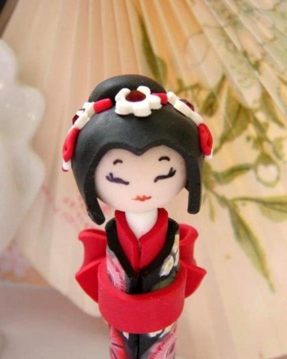 Valentine's Day Gift: Miniature Japanese Doll Chic and Sweet in Red  Black  Unique Polymer clay Handmade Sculpture doll