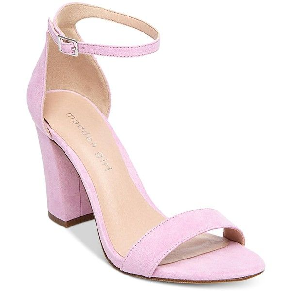 b896db93a5 Madden Girl Bella Two-Piece Block Heel Sandals ($49) ❤ liked on Polyvore  featuring shoes, sandals, lavender, block-heel sandals, ankle wrap sandals,  ...