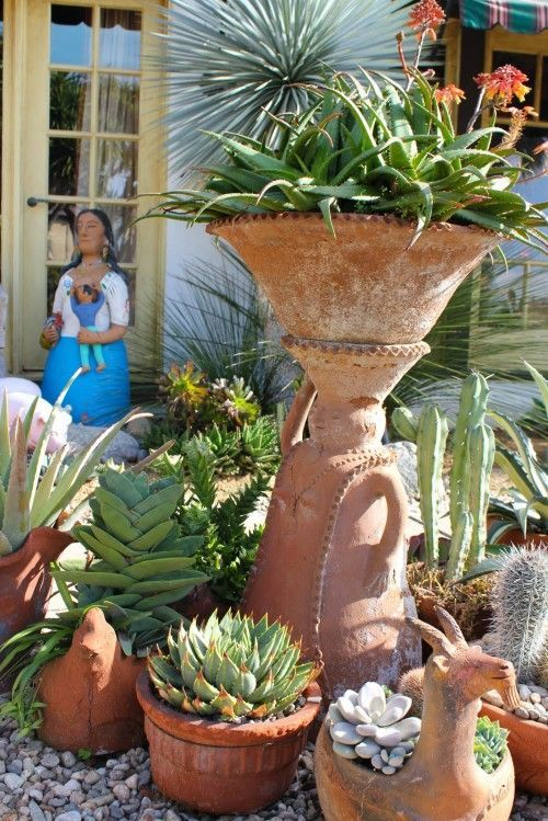 mexican garden design. Mexican pottery and desert plant for my patio  67 best Theme Knights Garden Ideas images on Pinterest