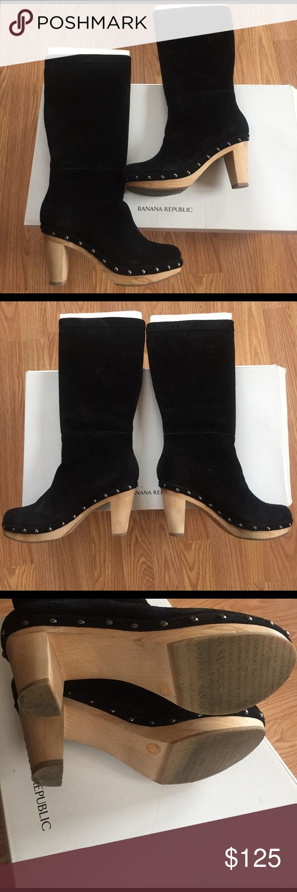 Black sued studded Banana republic boot Black sued studded Banana republic boot size 7 comes with box worn for about an hour indoors. Wooded heal. Banana Republic Shoes Heeled Boots