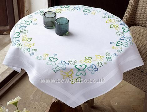 Butterflies In Green Tones Freestyle Embroidery Tablecloth   80 X 80cm    Sew And So