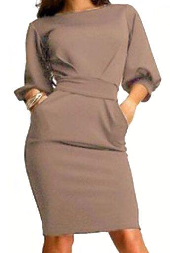 Mocha Half Sleeve Careers With Belt Slim Khaki Dress -SheIn(Sheinside)