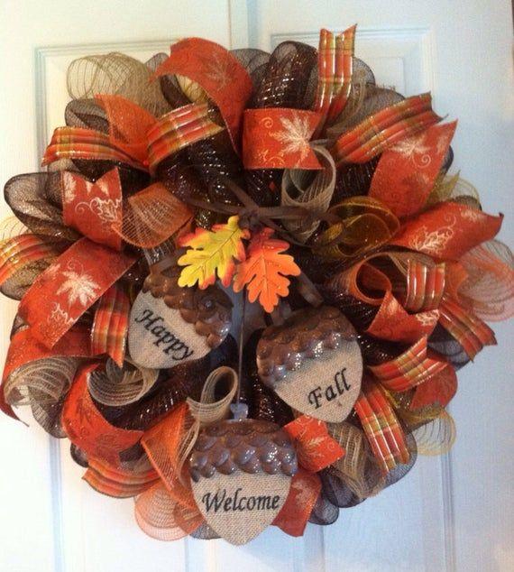Fall Wreath/ Welcome Fall Mesh wreath/ Thanksgiving Wreath/ Deco Mesh Wreath/ Acorn Mesh Wreath