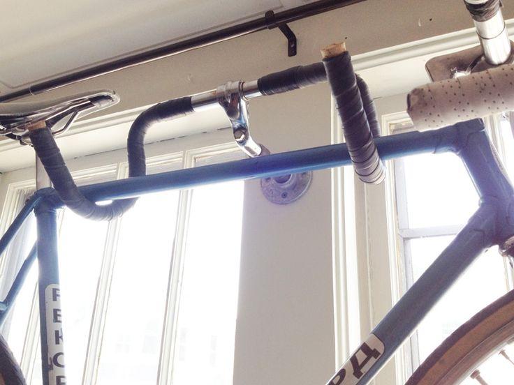 DIY bike hanger using repurposed drop bars