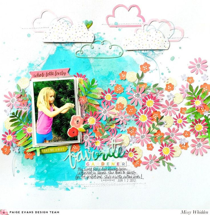 Paige Evans Design Team Project - featuring fussy cut flowers from the Oh My Heart collection Paper 13; also Fancy Free collection Puffy Stickers; acrylic paint and Shimmerz on the background