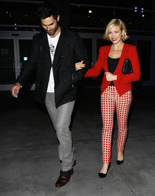 Tyler Hoechlin and Brittany Snow leave the Beyonce concert at The Staples Center on July 1, 2013...