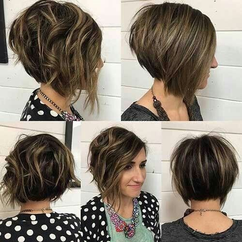Balayage, Asymmetrical Short Haircuts for Women - Inverted Curly Bob for Short Hair
