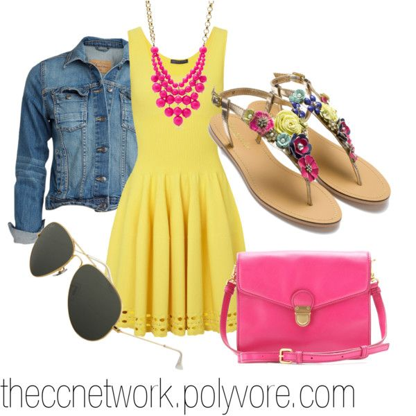 Preppy Summer Dress, Complete Outfit by theccnetwork on Polyvore - yellow dress + bright pink statement necklace + bring pink shoulder bag + sunglasses + jean jacket + sandals with colorful straps