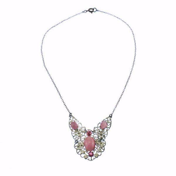 Bohemian Pink Rhinestone Filigree Necklace