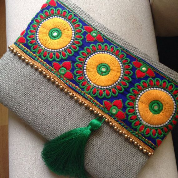 Embroided bag clutch purse womens bag bohemian by BOHOCHICBYDAMLA