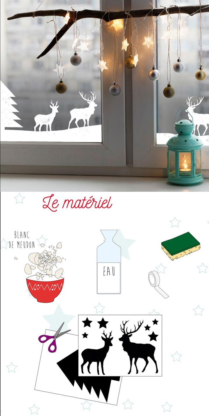 Réalisez des pochoirs de noël simples et astucieux aux fenêtres! #décodenoël #noel