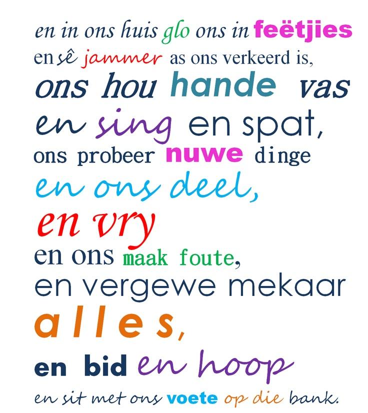 Afrikaanse quotes continued...en die tweede bladsy van ons house rules.