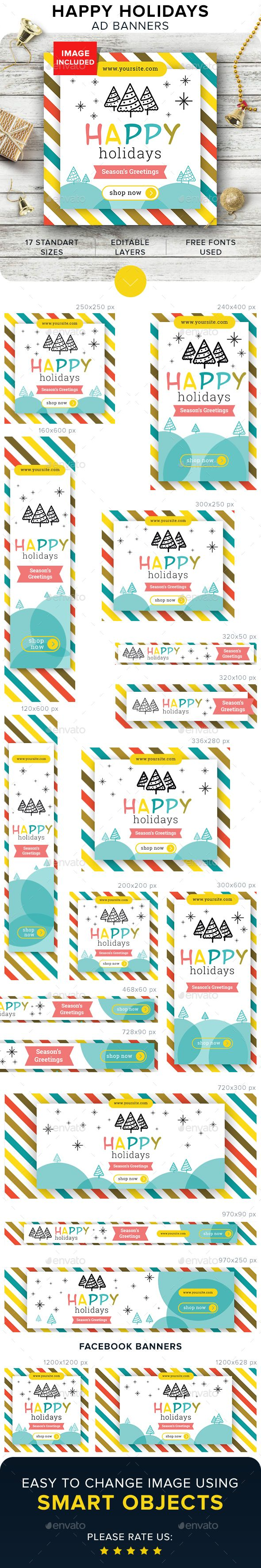 Happy Holidays Banners Template PSD #ads