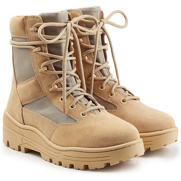 Yeezy Suede Combat Boots ($400) ❤ liked on Polyvore featuring shoes, boots, beige, combat booties, suede combat boots, army boots, army military boots and suede boots