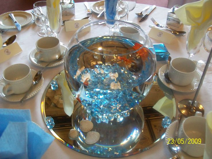 34 best images about graduation party on pinterest hula for Fish bowl centerpieces ideas