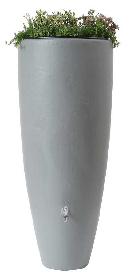 Regenton met plantenbak 2 in 1 Grijs 300 liter - Regenton vanaf 250 liter - Kunststof regentonnen - Tuinartikelen.nu