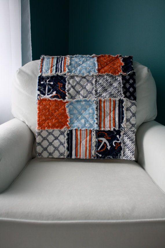 Nautical Themed Crib Rag Quilt - Anchors Away by Dear Stella - Etsy