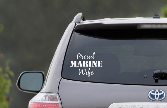 Proud marine wife vinyl car decal on etsy 5 00
